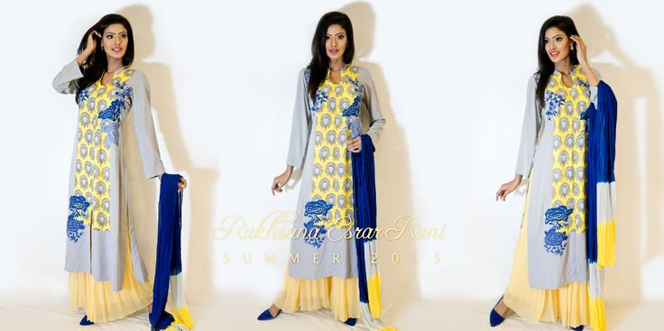 from Rukhsana Esrar Runi RTW Spring/Summer Collection 2015 #navyblue #yellow #gray #kameez #pret #salwarkameez #readytowear #rtw #casual #bengali #bangladeshi #desi #casualwear #designer #RukhsanaEsrarRuni