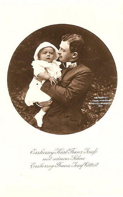 Thronfolger Karl von Österreich mit Sohn Franz Josef Otto, future Emperor of Austria  by Miss Mertens, via Flickr