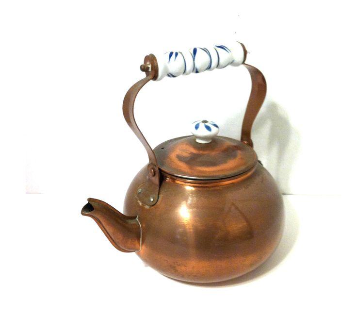 $29 Vintage COPPER TEA KETTLE Copper Teapot Copper Tea Pot Retro Tea Kettles Copper Kitchen Copper Decor Delft Handle Mid Century Tea Kettle by LastTangoVintage on Etsy