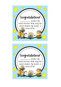 Minion Theme Secret Student Award