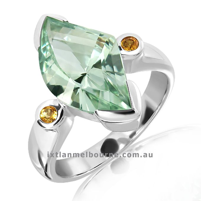 Be Admired and be Unique with one of this exclusive rings from Ixtlan Melbourne Jewellery Store in Gertrude St Fitzroy. Laser technology faceted Green Amethyst (also called Preshiolite) and small Citrines Sterling Silver ring