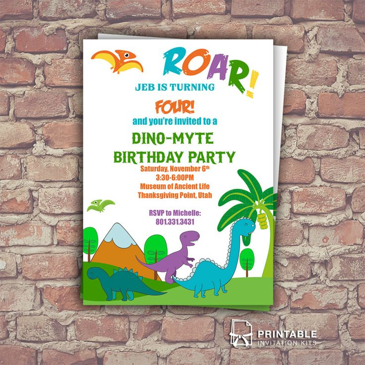 Dinosaurs Free Birthday Invitation Template