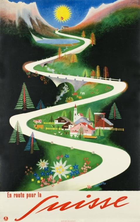 "By Aloïs Carigie, 1957, En route pour la Suisse, ""On the roads of Switzerland"", Swiss National Travel Office. (S)"