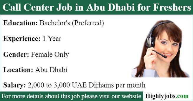 Call Center Job In Abu Dhabi For Freshers Call Center