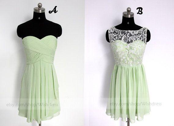 Mint Short Chiffon Bridesmaid Dress/Lace Bridesmaid by Wishdress