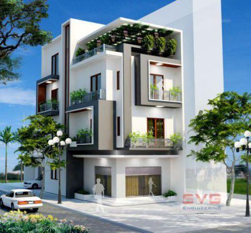 Mẫu thiết kế nhà phố đẹp phong cách hiện đại -> Phối cảnh 7