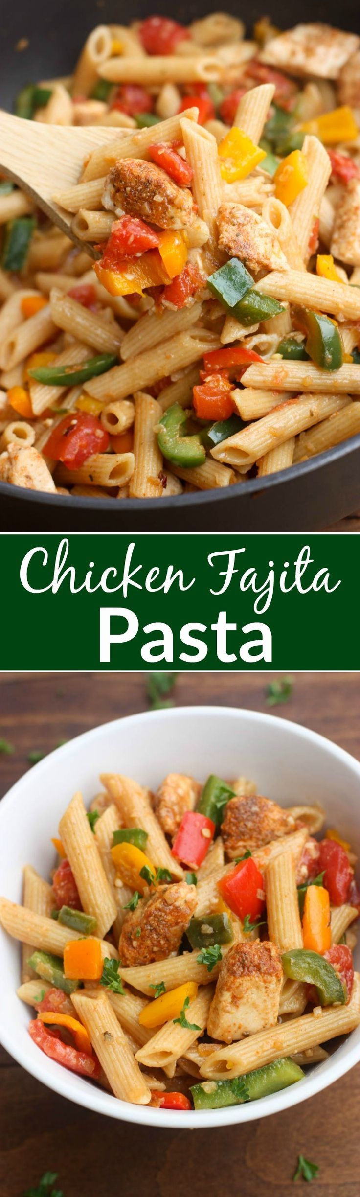 One Pan Chicken Fajita Pasta - everything you love about fajitas, transformed into a bold and delicious pasta dish! | Tastes Better From Scratch