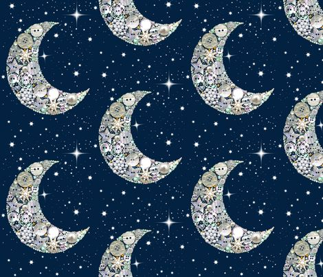 Holiday Vintage Button Moon fabric by magentarosedesigns on Spoonflower - custom fabric