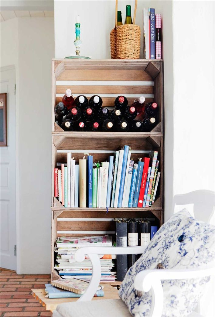 miss-design.com-renovated-farm-sweden-interior-14: Wine, Bookcases, Design Interiors, Shelves, Old Crates, Wooden Crates, Beautiful Swedish, Swedish Home, Crates Bookshelf