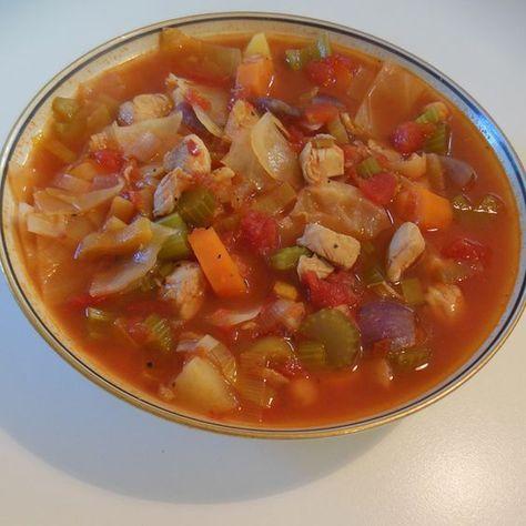 Lækker, top-mættende & varmende suppe - proppet med vitaminer & proteiner... 10g Becel vegetabilsk olie 500g Kyllinge inderfilet (90kcal pr 100g), skåret i mindre tern 170g rødløg i store t...