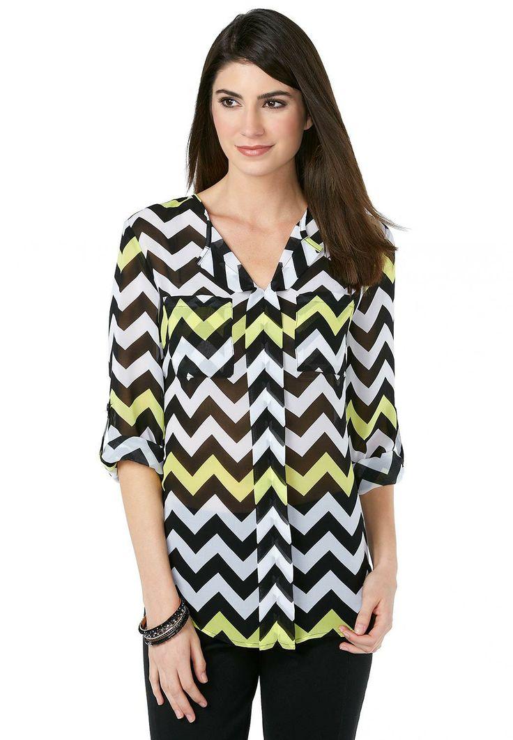 fa880f147f6 Chevron Print Roll Tab Popover - Plus Shirts   Blouses Cato Fashions