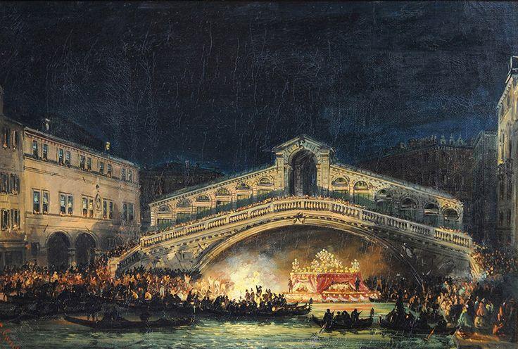 Giovanni Grubacs, Feste notturne sul Canal Grande, Venezia, XIX secolo. Olio su tela
