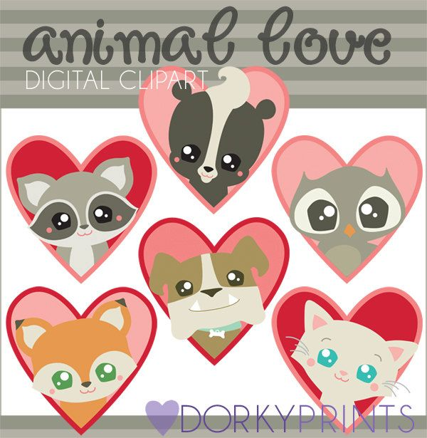 Valentine Clipart Animal Love Personal And Limited Etsy Valentine Clipart Clip Art Clipart Animals
