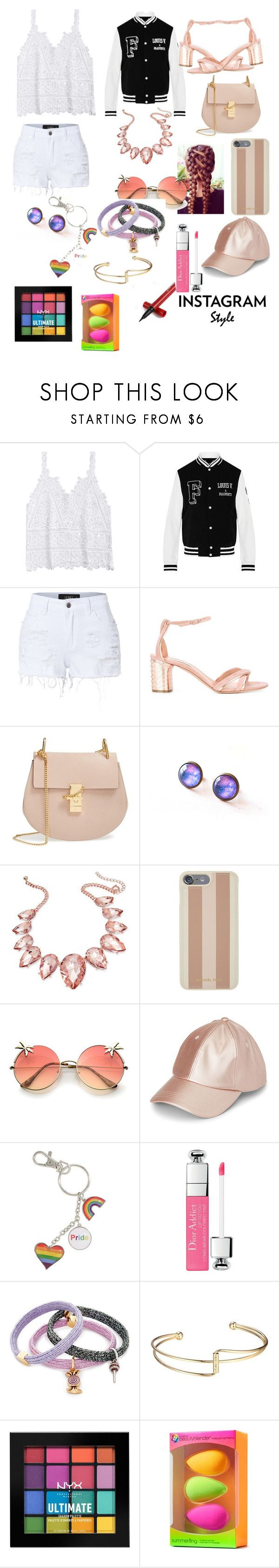 """Instagram"" by sarah-lol-chowdhury ❤ liked on Polyvore featuring LE3NO, Casadei, Chloé, Thalia Sodi, Michael Kors, Marc Jacobs, NYX, beautyblender, 60secondstyle and PVShareYourStyle"