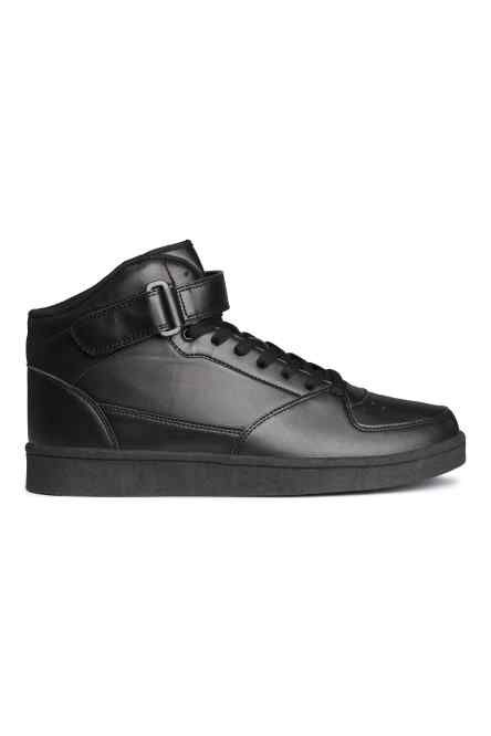 Hi-tops with laces and a tab at the top with a hook and loop fastening and  rubber soles.
