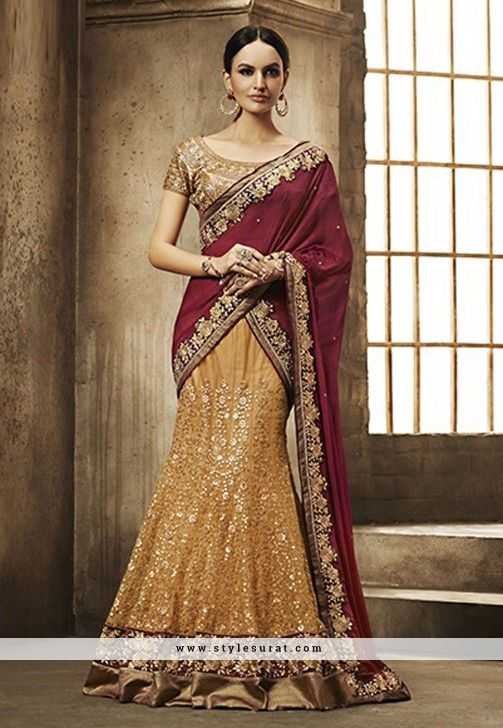 Mesmerizing Mustard And Maroon Net A Line Lehenga Choli