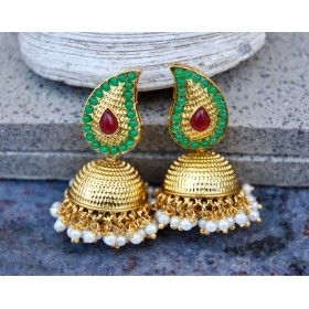Red Green Gold Jhumka Earrings with Pearls