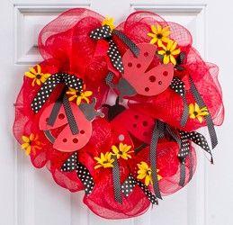 Ladybug Mesh Wreath