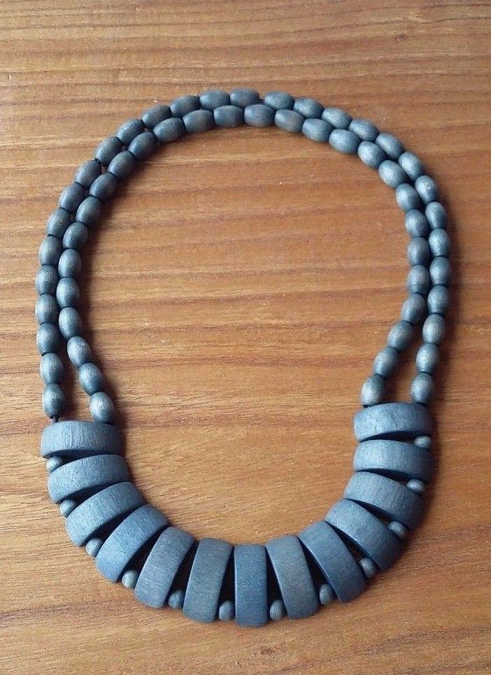 Aarikka Finland Vintage Necklace Green/Emerald/Blue Wood Beads  #Aarikka