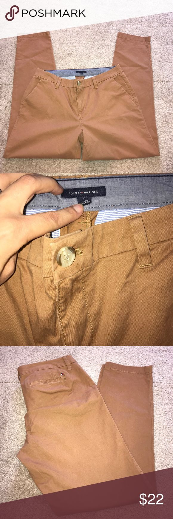Tommy Hilfiger Tan Chinos Size 10. Inseam is 28. Cute rolled up with flats. Two front pockets. Tommy Hilfiger Pants Straight Leg