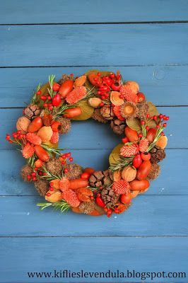 autumn wreath from various plants
