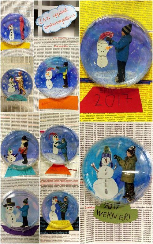 Yhdistelmätyö - minä lumihiutalepallossa, tvt:tä, valokuvausta ja piirtämistä.
