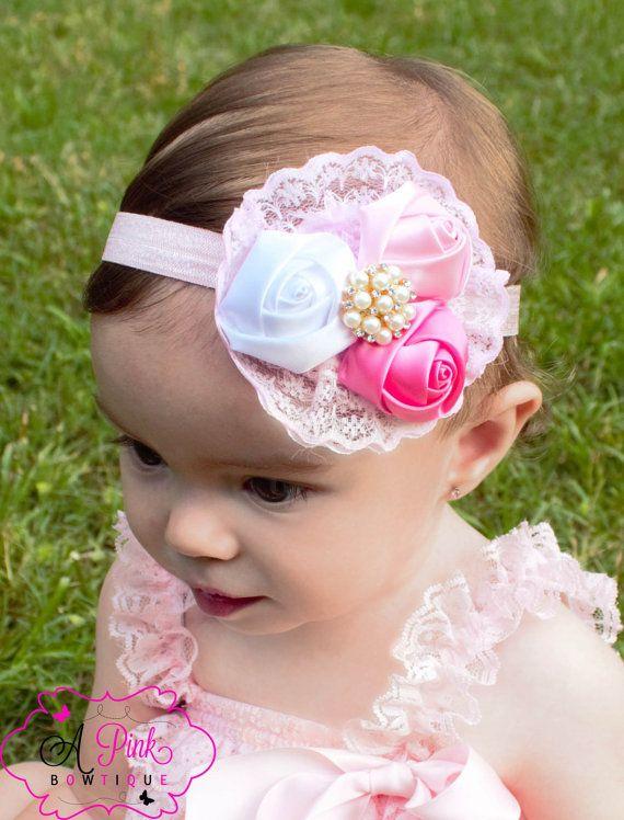 satin rose triple rose flower headband Baby by APinkBowtique, $9.95