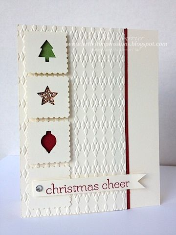 SU! Merri Minis punch pack and Postage Stamp punch on Very Vailla with Cherry Cobbler, Gumball Green and Champagne Glimmer paper - Debra Currier (ARTfelt Impressions)