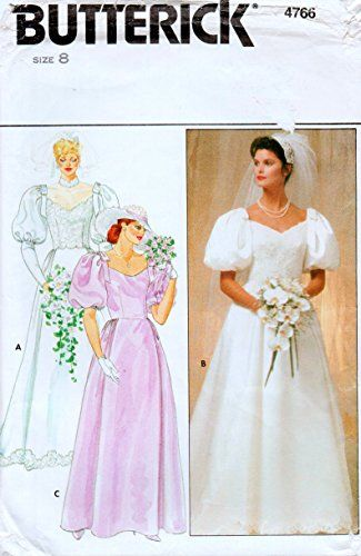 Butterick Sewing Pattern 4766 Misses Size 12 Bridal Wedding Bridesmaid Dress Gown Cut On Train