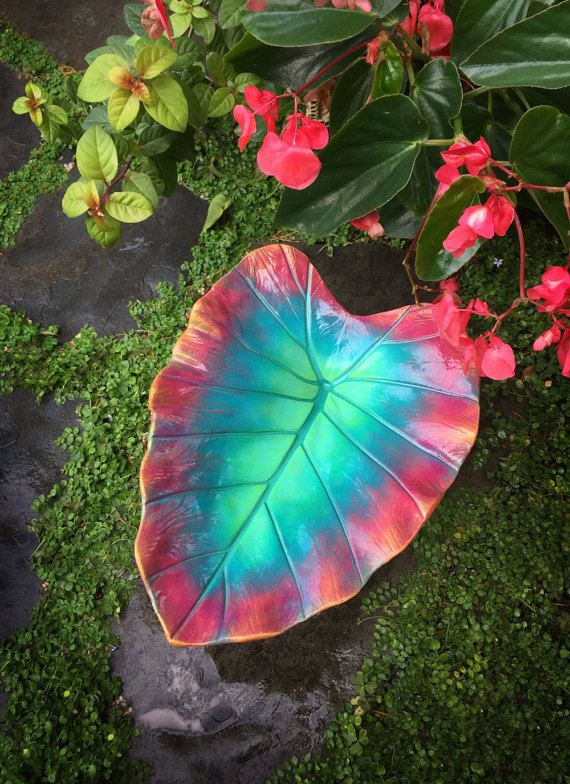 Decorative cement leaf in sea green and coral