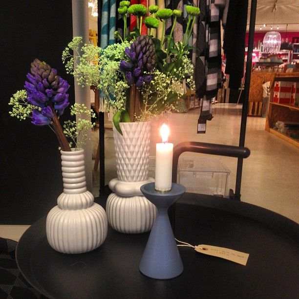 Gorgeous little dove blue Inga™ candlestick by freemover.se Maria Lovisa Dahlberg with nice design friends