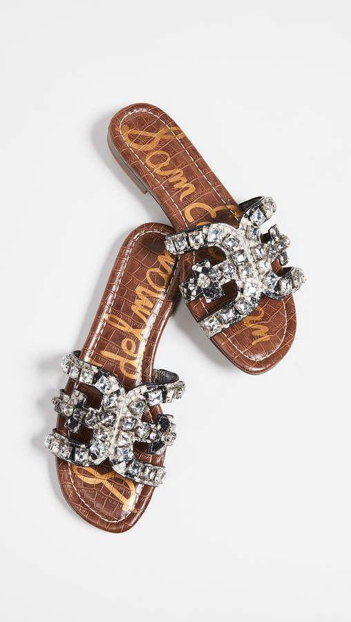 7592cddd10ee40 Sam Edelman Bay 8 Slides in putty brown and silver crystals ...