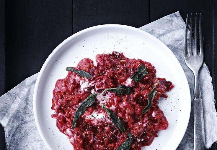 Rødbede-risotto med gedeost og friteret salvie - BO BEDRE