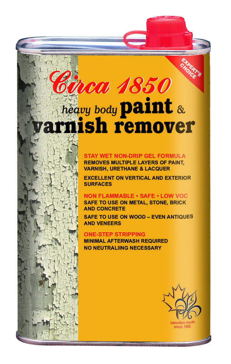 Circa 1850 Heavy Body Paint & Varnish Remover removes old paint, varnish, shellac, lacquer and urethane - even multiple coats. Its gel formula makes it ideal for exterior use and vertical surfaces.