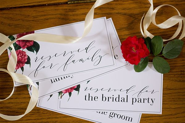Free Printable: Reserved Seating Signs for Family Members and Bridal Party | Susan Brand Photography on @limnandlovely via @aislesociety