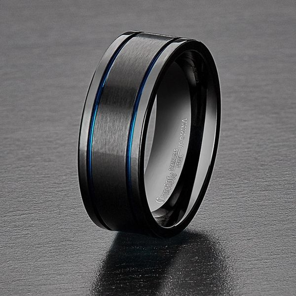 Custom Promise Ring for Him Tungsten Ring Black Tungsten Wedding Ring Groove Ring Wife Name Ring Comfort Fit Ring