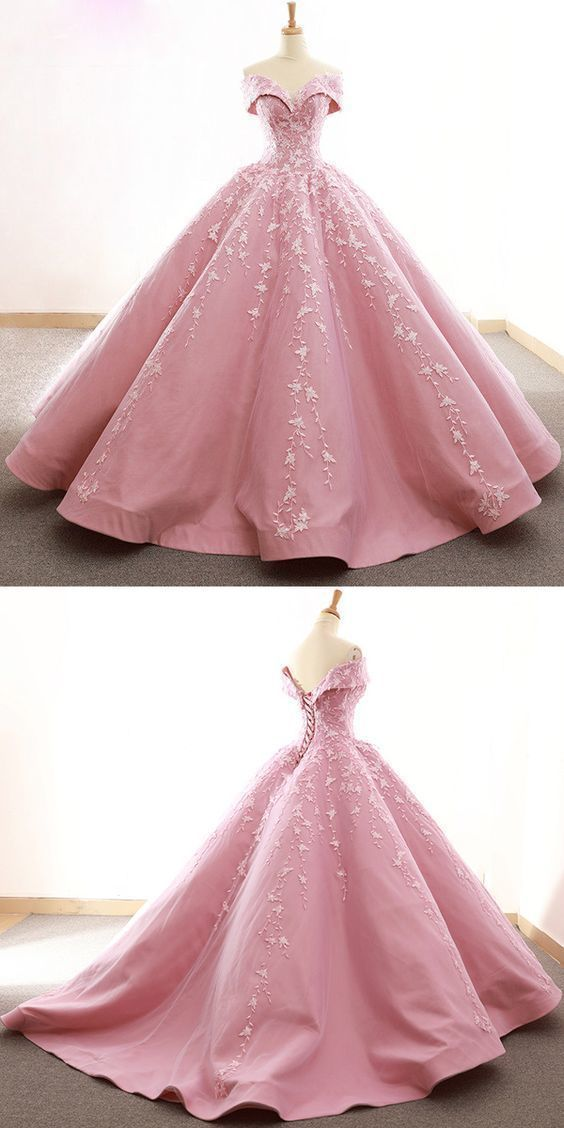 Gorgeous Tulle & Satin Off-the-shoulder Neckline Ball Gown Wedding Dresses With Lace Appliques