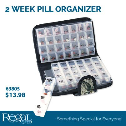 """2 WEEK PILL ORGANIZER  Large case is ideal for organizing all medications and vitamins that you take throughout the week. Save time by only loading it up every 2 weeks. Great for travelling! Each day has a snap close opening for morning, noon, evening and bedtime doses. Closed: 7-1/2""""L x 4-1/2""""W x 2""""H"""