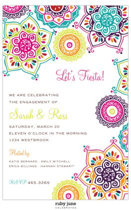 Fiesta Invitations, Bright Fiesta Flowers Fiesta Shower Invitations