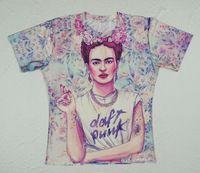Mulheres de Frida Kahlo 3D flor casal combinando camisas camisetas de manga curta
