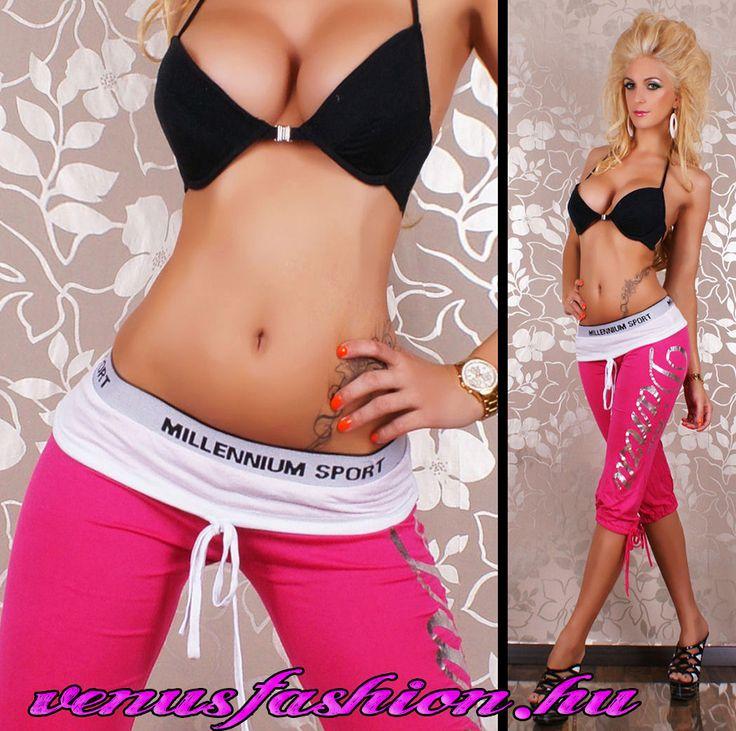 Divatos pink fehér női capri sportnadrág - Venus fashion női ruha webáruház