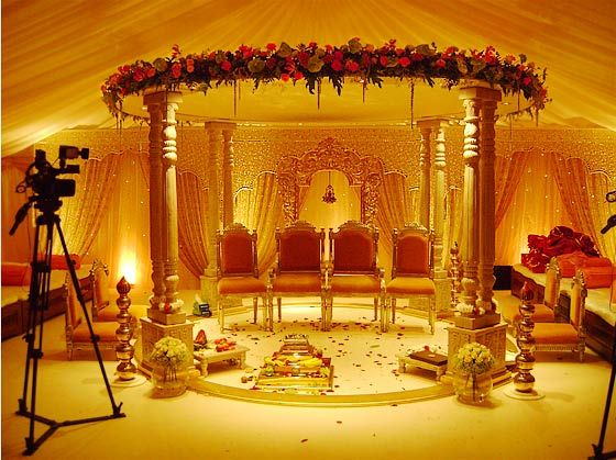 Traditional Indian Marquee known as the Mandap.     Where the bride's family and groom's family sit and perform the rituals.