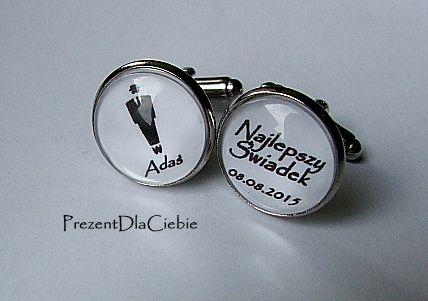 ślub świadek spinki do mankietów koszuli zamów - nailart2010 - Spinki do mankietów