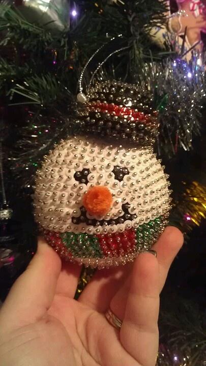 Snowman sequin ornament