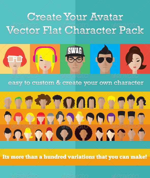 Create Your Avatar Character Pack — Photoshop PSD #character #flat • Available here → https://graphicriver.net/item/create-your-avatar-character-pack/5324123?ref=pxcr
