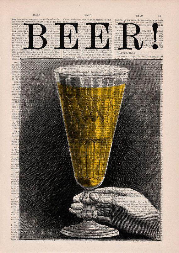 Beer print Vintage dictionary Print a pint of beer Old by PRRINT