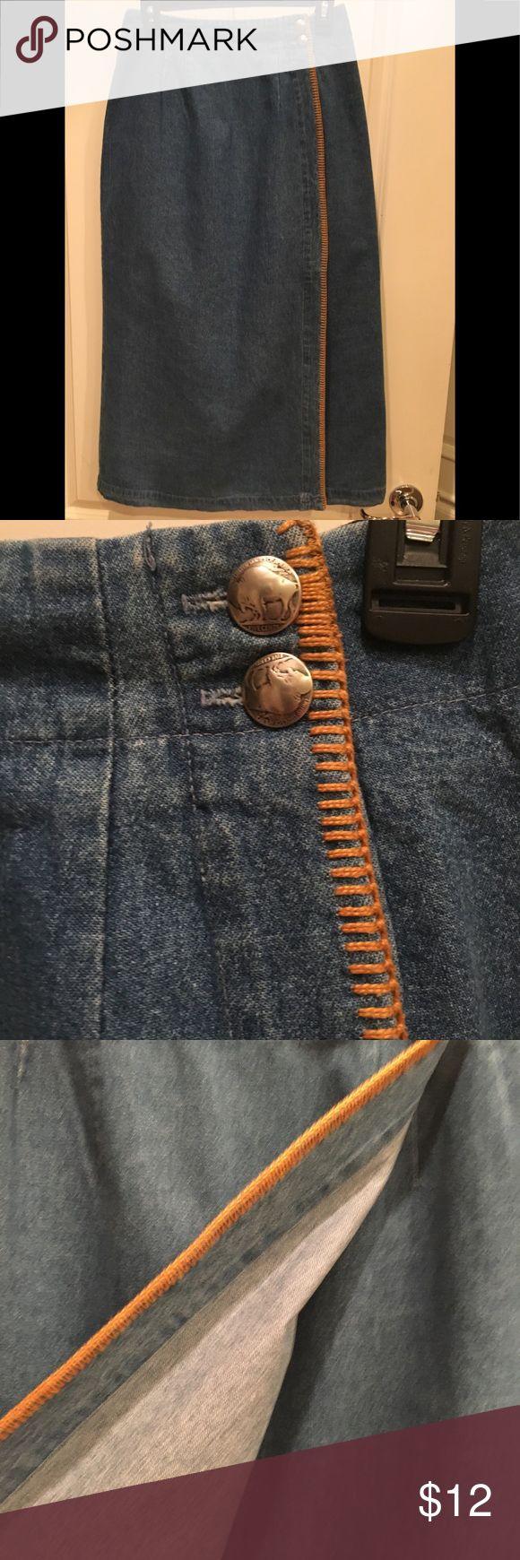 Selling this Ankle Length Blue Denim Wrap Around Skirt on Poshmark! My username is: windycreek. #shopmycloset #poshmark #fashion #shopping #style #forsale #Ruff Hewn #Dresses & Skirts