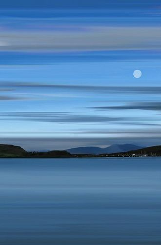 Moon over Oban Bay, Highlands of Scotland