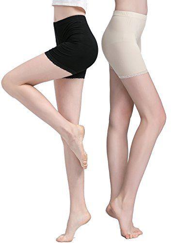 7d1c5bf2c16bb3 Vinconie Women Under Skirt Leggings Safety Pants Yoga Shorts Lace Trim 2  Pack