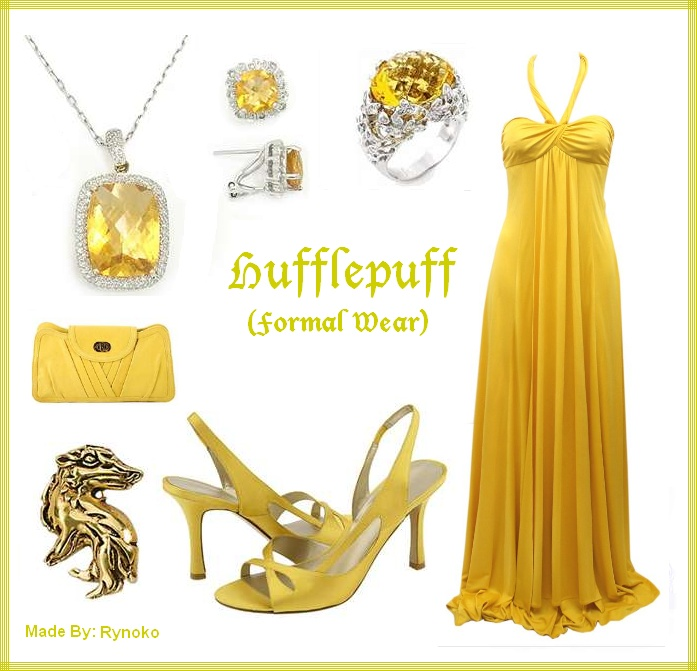 Hufflepuff Formal Wear - put together by Rynoko (me=StephieDriver)! :D: Formal Wear, Character Inspired, Chic Geek, Harry Potter, Hufflepuff Fashion, Hufflepuff Clothes, Hufflepuff Formal
